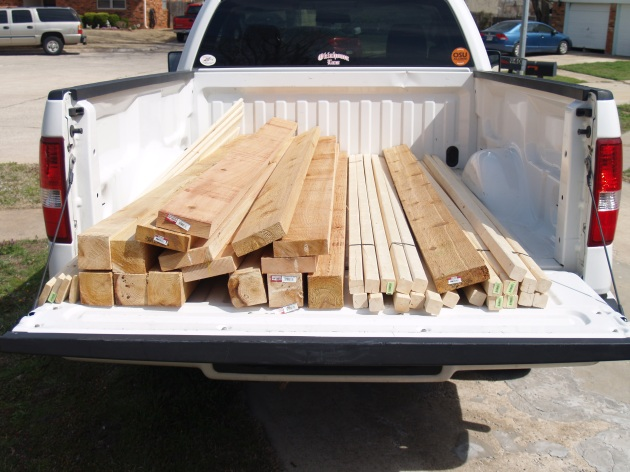 Wedding Arbor - just wood in the truck